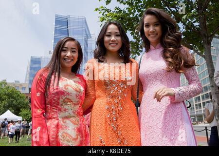 Young Asian women posing for photo at Chinatown Park - Washington, DC USA - Stock Photo