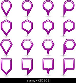 Flat purple color map pin sign location icon with gray shadow and reflection isolated on white background. Web design - Stock Photo