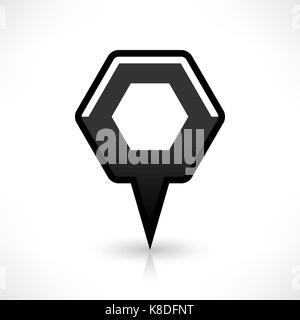 Blank map pin location sign rounded hexagon icon in flat style. Empty black shapes with gray oval shadow and reflection - Stock Photo