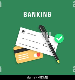 banking with charge card and bank check - Stock Photo