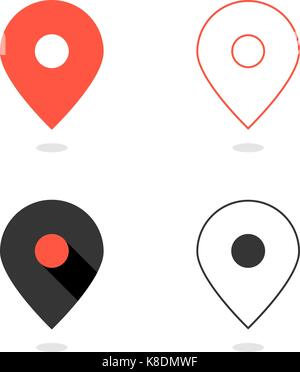 set of simple pin icons with shadow - Stock Photo