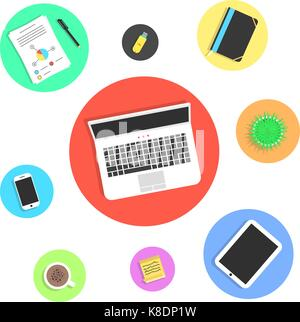 office objects in colored circles - Stock Photo