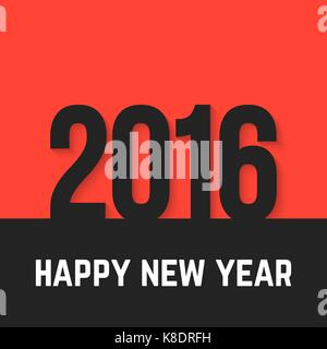 black 2016 year icon on red background - Stock Photo