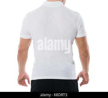Rear view midsection of man in casuals standing against white background - Stock Photo