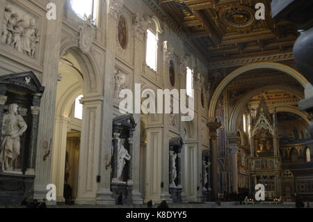 Italy, Rome. Archbasilica of St. John Lateran. Baroque and Neoclassical style. Interior. - Stock Photo