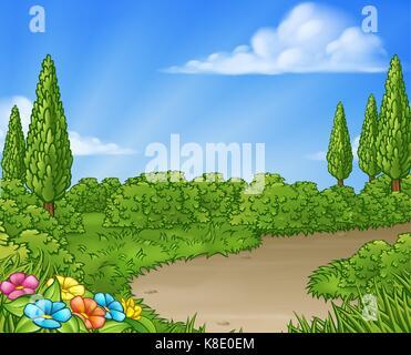 Cartoon Country Lane Park or Garden Background - Stock Photo