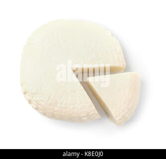 Top view of brined cheese wheel isolated on white - Stock Photo