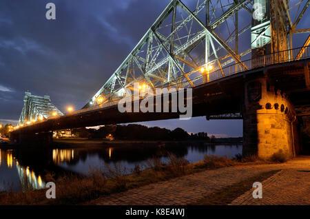Dresden, evening mood in the nasty surprise, Abendstimmung am Blauen Wunder - Stock Photo