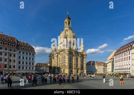 Dresden, Church of Our Lady at the new market, Frauenkirche auf dem Neumarkt - Stock Photo
