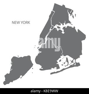 New York city map with boroughs grey illustration silhouette shape - Stock Photo