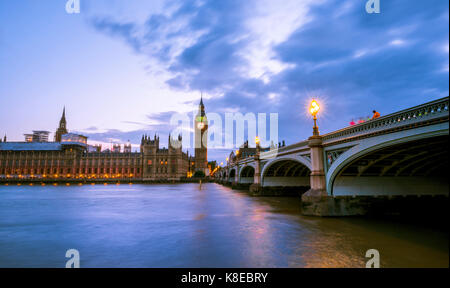 Westminster Bridge with Thames, Palace of Westminster, Houses of Parliament, Big Ben, Dusk, City of Westminster, - Stock Photo