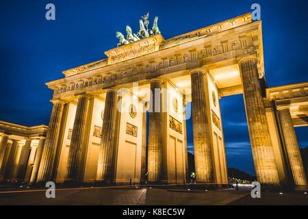 Brandenburg Gate at dusk, illuminated, Pariser Platz, Berlin-Mitte, Berlin, Berlin, Germany - Stock Photo