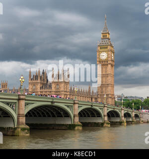 View over the river Thames, Westminster Bridge, London, England, Great Britain, Houses of Parliament, Big Ben - Stock Photo