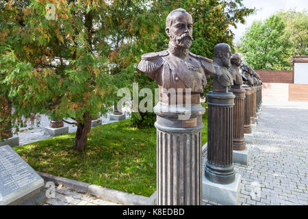 MOSCOW, RUSSIA - SEPTEMBER 16, 2017: monument on Alley of the Rulers of Russia at courtyard of museum of Military - Stock Photo
