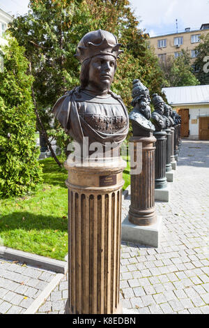 MOSCOW, RUSSIA - SEPTEMBER 16, 2017: bust on Alley of the Rulers of Russia at courtyard of the museum of Military - Stock Photo