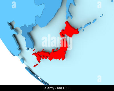 Illustration of japan highlighted in red on grey globe 3d stock 3d illustration japan highlighted in red on blue political globe 3d illustration stock photo gumiabroncs Gallery