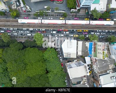 Top view of traffic jam in Bangkok - Stock Photo