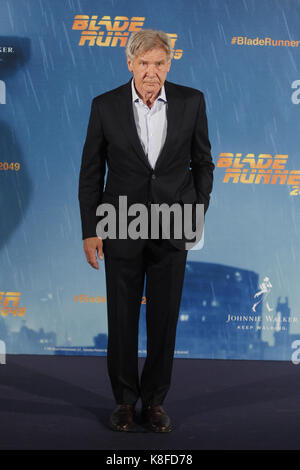 Madrid, Spain. 19th Sep, 2017. Harrison Ford at the photocall for Blade Runner 2045 at the Villamagna hotel in Madrid, Spain. September 19, 2017. Credit: Jimmy Olsen/Media Punch ***No Spain***/Alamy Live News Stock Photo