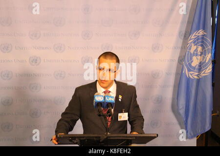 UN, New York, USA. 19th Sep, 2017. Venezuela Foreign Minister Jorge Arreaza responded to Donald Trump's speech. - Stock Photo