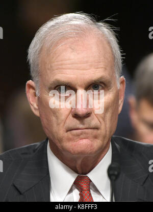 Washington DC, USA. 19th Sep, 2017. United States Secretary Of The Navy Richard V. Spencer testifies before the US Senate Committee on Armed Services on 'Recent United States Navy Incidents at Sea' on Capitol Hill in Washington, DC on Tuesday, September 19, 2017. The hearing is investigating the two separate collisions with the USS Fitzgerald and USS John S. McCain that resulted in the loss of 17 US Sailors. Credit: Ron Sachs/CNP /MediaPunch Credit: MediaPunch Inc/Alamy Live News Stock Photo