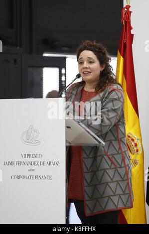 Madrid, Spain. 19th Sep, 2017. Colombian professor Juanita Gonzalez-Uribe delivers a speech during the ceremony award of 7th Jaime Fernandez de Araoz Award of Corporate Finance, in Madrid, Spain, 19 September 2017. Credit: JuanJo Martin/EFE/Alamy Live News Stock Photo