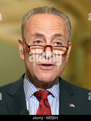 Washington, USA. 19th Sep, 2017. United States Senate Minority Leader Chuck Schumer (Democrat of New York) speaks to reporters outside the US Senate Chamber following the Democrats' weekly luncheon caucus in the US Capitol in Washington, DC on Tuesday, September 19, 2017. Credit: Newscom/Alamy Live News Stock Photo