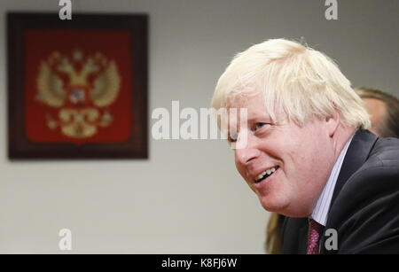 New York City, United States. 19th Sep, 2017. The UK's foreign secretary Boris Johnson during a meeting with Russia's - Stock Photo