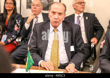 New York, USA. 19th Sep, 2017. Michel Temer, President of Brazil, accompanied by Foreign Ministers Aloysio Nunes - Stock Photo