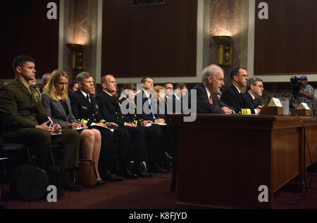 Washington, USA. 19th Sep, 2017. A hearing on recent U.S. Navy incidents is held before Senate Armed Services Committee on Capitol in Washington, DC, the United States, on Sept. 19, 2017. Top leaders of the U.S. Navy were urged to do better on Tuesday as they appeared before the Senate hearing over a series of deadly ship collisions involving the Pacific fleet. Credit: Yin Bogu/Xinhua/Alamy Live News Stock Photo