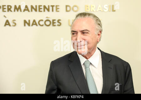 New York, USA. 19th Sep, 2017. Michel Temer, president of the Republic of Brazil, attends a press conference at - Stock Photo