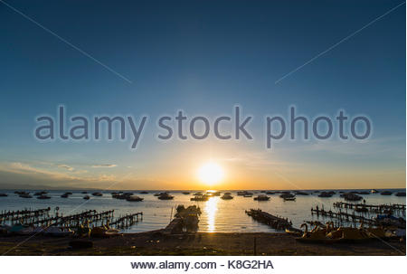Sunset at Lake Titicaca viewed from Copacabana Copacabana, Bolivia - Stock Photo