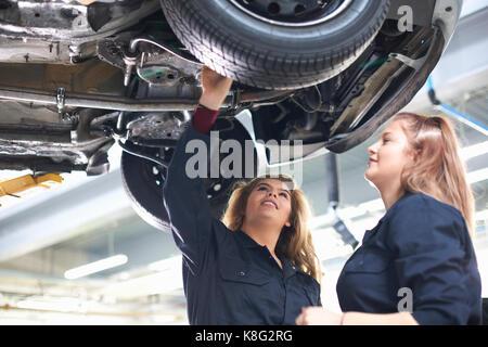 Students at car maintenance class - Stock Photo