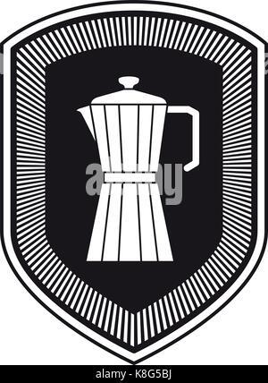 logo shield decorative of metallic jar of coffee with handle black silhouette - Stock Photo