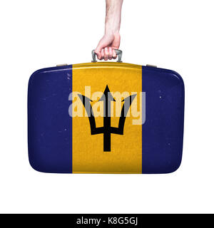 barbados flag on a vintage leather suitcase. - Stock Photo