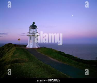 New Zealand. North Island. Cape Reinga lighthouse at dusk. - Stock Photo