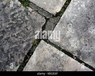Detail of stone paving slabs with weathered joints. - Stock Photo