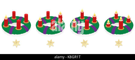 Advent wreath with one, two, three and four lighted red candles in different lengths depending on burning time in - Stock Photo