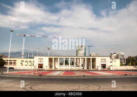 TIRANA, ALBANIA - AUGUST 2017: Restauration of the football stadium of Tirana in Albania - Stock Photo