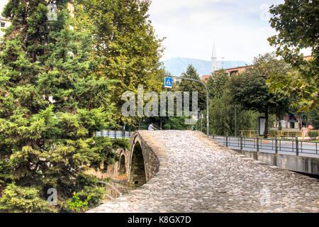TIRANA, ALBANIA - AUGUST 2017: The historical bridge in the center of Tirana, the capital of Albania - Stock Photo