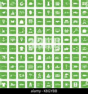 100 logistic and delivery icons set grunge green - Stock Photo