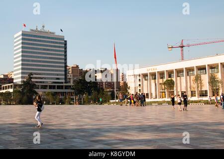 TIRANA, ALBANIA - AUGUST 2017: View over Skanderbeg square, the main square in Tirana in Albania - Stock Photo