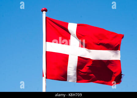 Flag of Denmark in the wind - Stock Photo