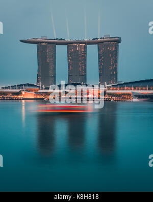 Marina Bay Sands during blue hour - Stock Photo