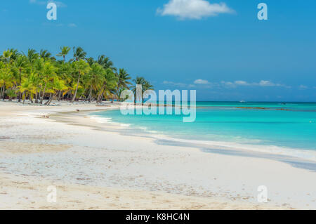 Beach on the Caribbean island of Saona in Dominican Republic. - Stock Photo