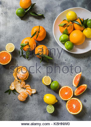 High angle view of oranges and lemons on table - Stock Photo
