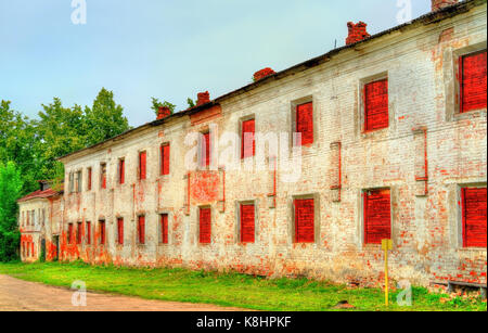 Old brick wall of a monastery in Rostov Veliky, Russia - Stock Photo