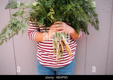 Midsection of girl holding carrots against wooden fence - Stock Photo
