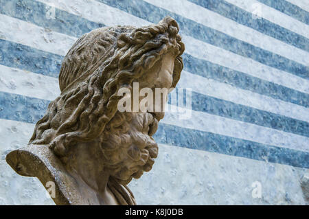 Bust of Zeus, king of the gods, with striped background - Stock Photo