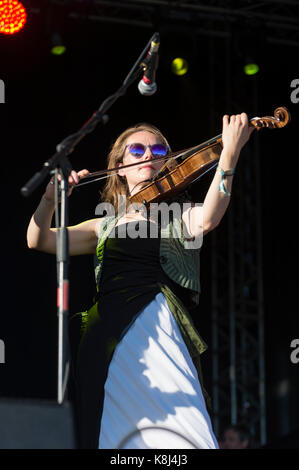 Thornhill, Scotland, UK - September 1, 2017: Abi Fry of English indie rock band British Sea Power during day 1 of - Stock Photo