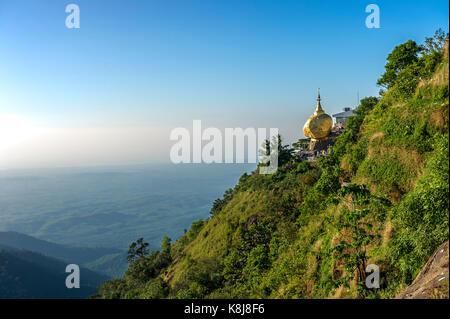 Myanmar (formerly Burma). Kyaiktiyo. State Mon. Sacred site of the golden rock - Stock Photo